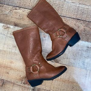 Frye Phillip Harness Leather Boot Brown Youth